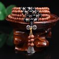 New Fashion 6mm Gold Sand Stone Beads Tibetan Buddhist 108 Prayer Beads Necklace Gourd mala Prayer Bracelet for Meditation