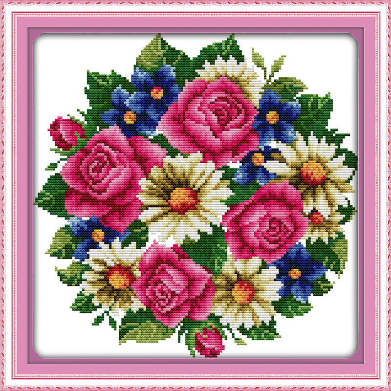 All flowers bloom together-rose flowers cross stitch kits 11ct print on canvas embroidery set sewing hand made crafts home decor