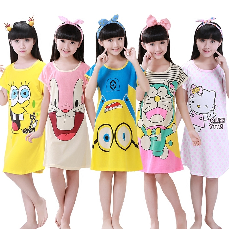 2018 Rushed Summer Kids S Girls Short Princess Dress Sleeve Night Pure Cotton Cartoon Snow And Witch Children Clothing the new children s cubs hat qiu dong with cartoon animals knitting wool cap and pile