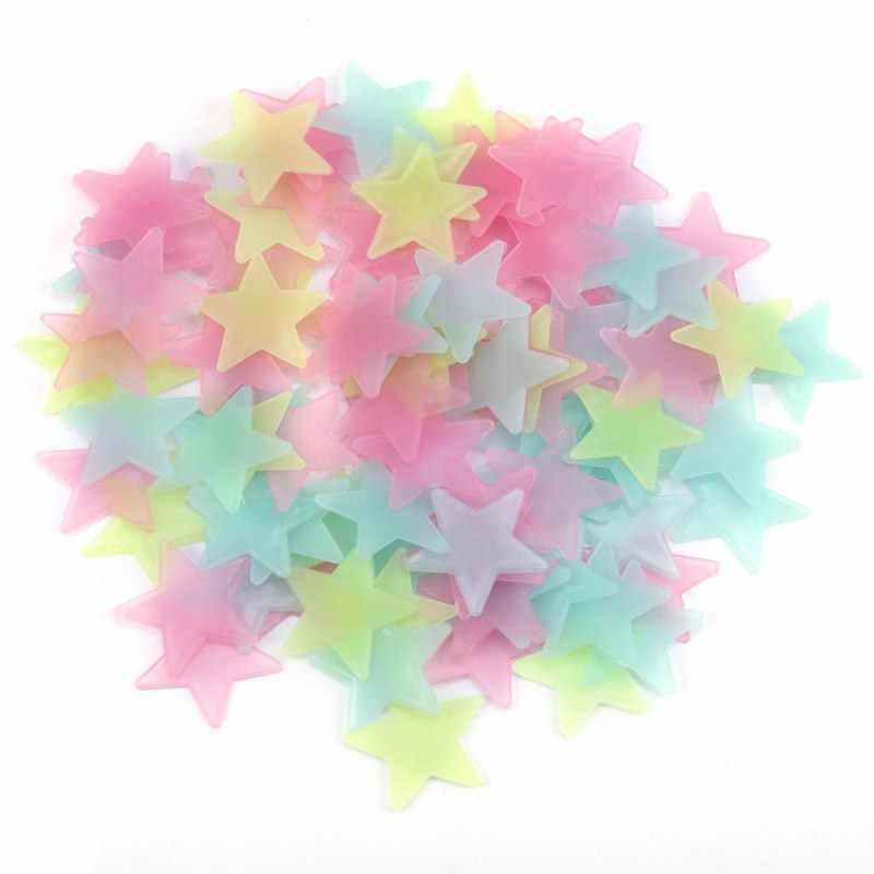 100PC enfants chambre fluorescente lueur dans les étoiles sombres lueur Stickers muraux étoiles lumineux lumineux lueur autocollant couleur