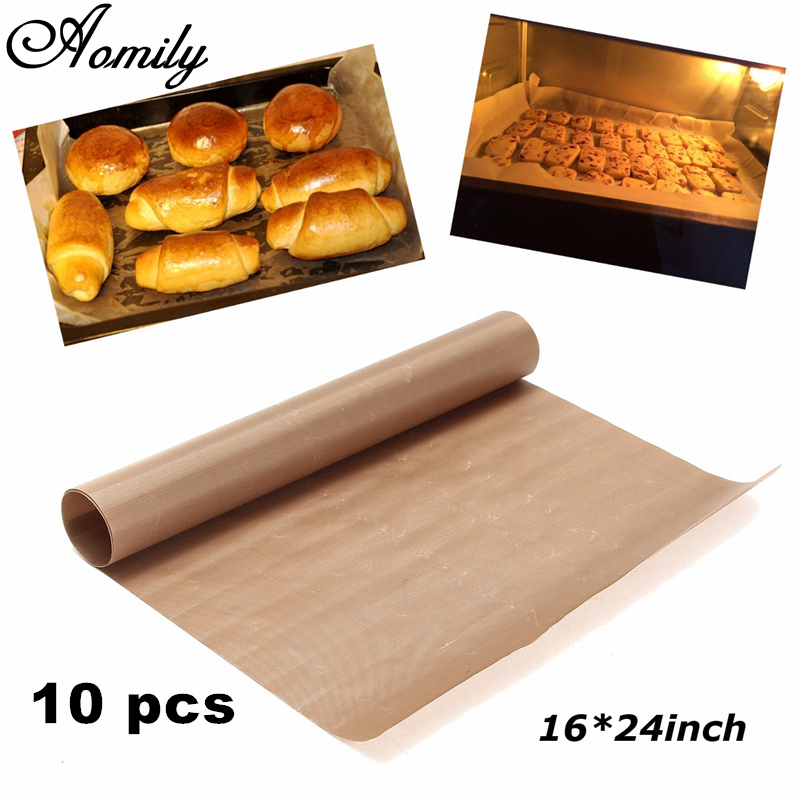 Baking Mats & Liners Aomily 10pcs/set 40x60cm Glass Fiber Mat Microwave Cooking Pad Sheet Non Stick Oven Grill Baking High Tempreture Resistant Cloth To Have A Long Historical Standing Bakeware