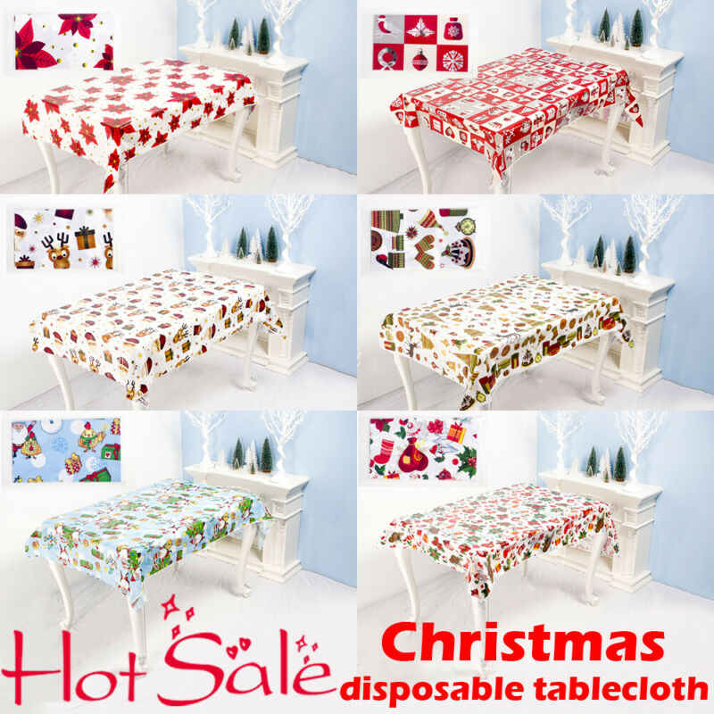 1Pcs חדש חג המולד פסטיבל Disposabl בד שולחן החג שמח Rectangule חג המולד מודפס קריקטורה מפת שולחן חג דקור