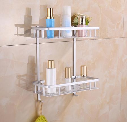 Bathroom Shelves Bathroom Fixtures Aluminium Storage Rack Bathroom Shower Bath Holder For Shampoos Shower Gel Kitchen Home Balcony Shelf Hanging Rack Hook