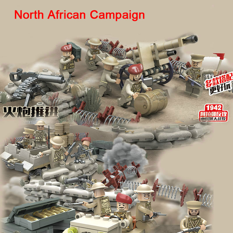 New WW2 Mini UK British 8th Army North African Campaign Soldier Figure Military Weapon Building Blocks Toys D163 Updated Version