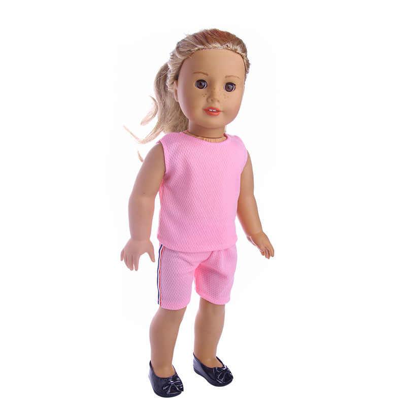ตุ๊กตาใหม่ตุ๊กตาตุ๊กตาเสื้อผ้าแขนกุดสีชมพูเสื้อยืดชุดสำหรับ 18 นิ้วอเมริกัน, เด็กที่ดีที่สุดของขวัญ