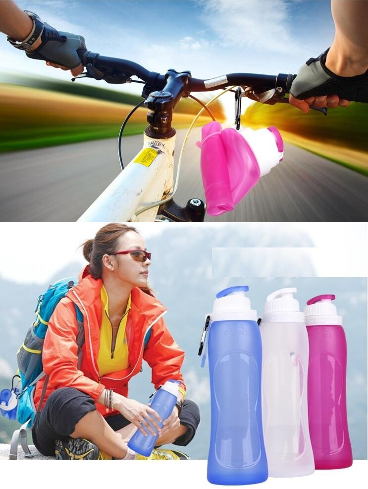 2017 Hot Sale Folding Water Bottle Sports Camping Travel my plastic bicycle Silicone Eco Friendly Collapsible