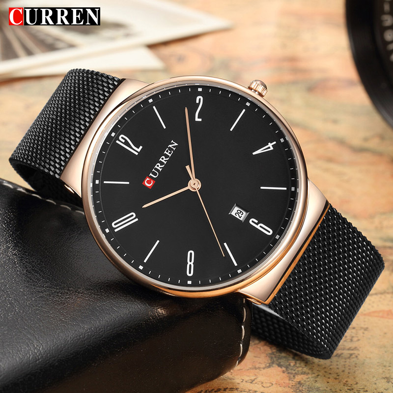 Curren Fashion Gold Quartz Watch Simple Business Men's Luxury Brand Watch Stainless Steel Men Clock Wristwatch Ultra thin Dial цена