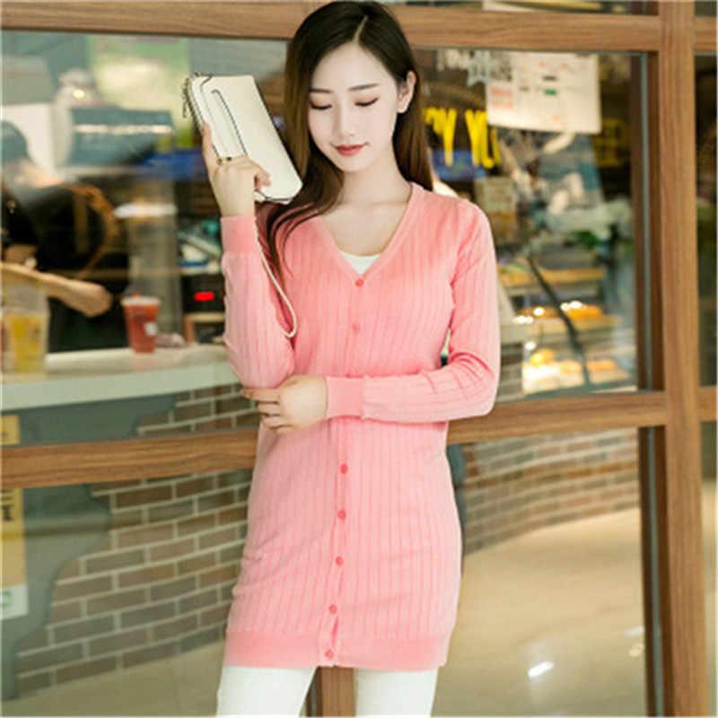 Вязаный кардиган Для женщин 2018 осень-зима длинный рукав длинный кардиган женский свитер женская обувь черного, розового цвета Гэри красный базовые Топы PZ191