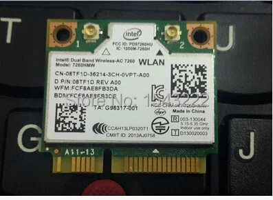 Wifi Adapter For Intel Dual Band Wireless-AC 7260 7260HMW 7260AC Half Mini PCI-e +BT4.0+867Mbps Wireless Card For Dell 8TF1D