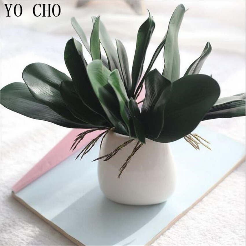 YO CHO Weed Branches Plastic Green Plant Flower Artificial Simulation Leaf Decoration Orchid Leaves Home Wedding Fleurs Beauty
