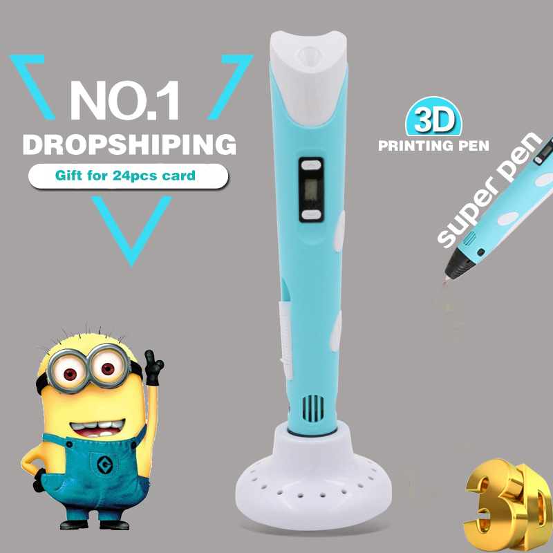 3D Printing Pen LED LCD Temperature Control 3D Pen Drawing Painting Pen With Filament Creative Gift