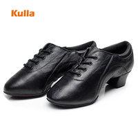 Black Men Latin Tango Dance Shoes Genuine Leather Boys Professional Ballroom Shoes For Dancing Man Modern Jazz Shoes Size 34 44