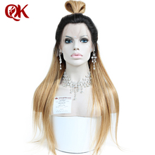 QueenKing Hair Malaysian Ombre lace front wig Golden Blonde Beyonce Remy Hair Free Shipping