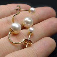 Free shipping 5 8.5MM White Real Akoya Double Pearl Ear Stud Earrings 14 Solid Yellow Gold