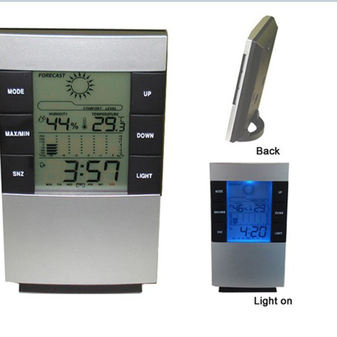 Electronic Temperature Humidity Meter Clock LCD Digital Thermometer Hygrometer Weather Station Indoor High Accuracy lcd digital temperature humidity moisture meter weather station indoor