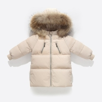 white duck down jacket kids coat with colorful raccoon fur real hooded baby girl boy tops snow winter clothes children 2 3 4 5 6