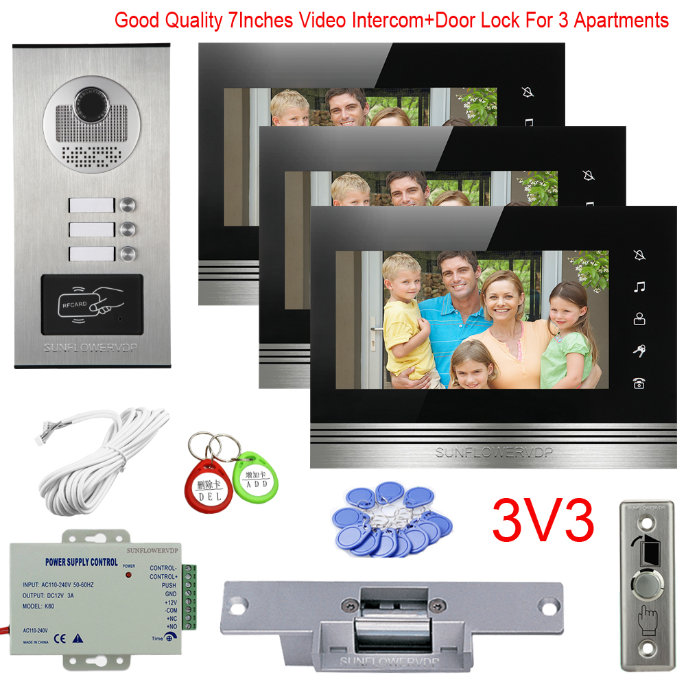 Video Intercom For Apartment 2/3/4/6 With Multi Units Video Phone 7Inches Color Monitor Homephone With Electric Door Lock Kit