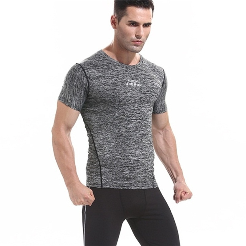 A18313 Workout fitness men long sleeve t shirt men thermal muscle bodybuilding wear compression Elastic Slim