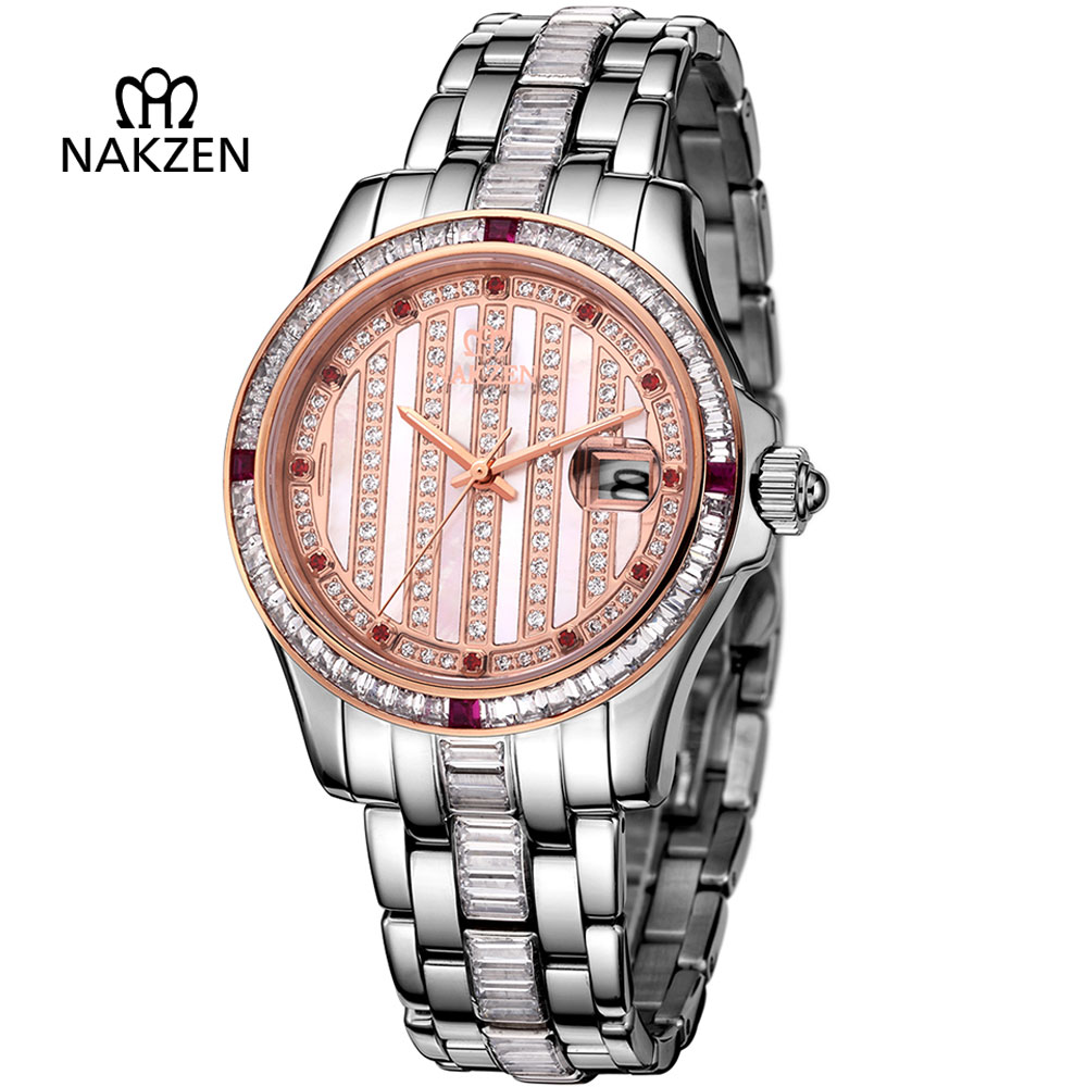 NAKZEN Mens Diamond Automatic Mechanical Watch Luxury Sapphire Steel Man Clock Fashion High End Gents Unique Noble Watches nakzen men s automatic waterproof 50m watch man steel business dress mechanical clock male luxury sapphire diamond fashion watch
