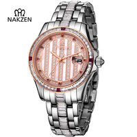 NAKZEN Mens Diamond Automatic Mechanical Watch Luxury Sapphire Steel Man Clock Fashion High End Gents Unique Noble Watches