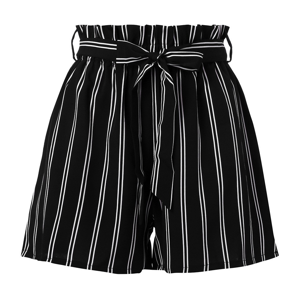 Women Summer Shorts Retro Stripe Casual Elastic Waist Fit Elastic Waist Pocket Shorts Casual Beach Loose With String