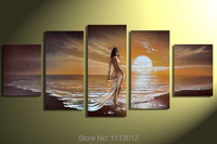 High Quality Sandy Beach Sexy Nude Women Oil Painting On Canvas 5 Pcs Wall Art Picture For Living Room Home Decoration Modern