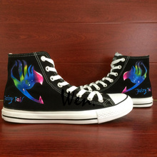 Wen Black Hand Painted Canvas Sneakers Fairy Tail Colorful Logo Men Women Anime High Top Canvas Sneakers for Gifts