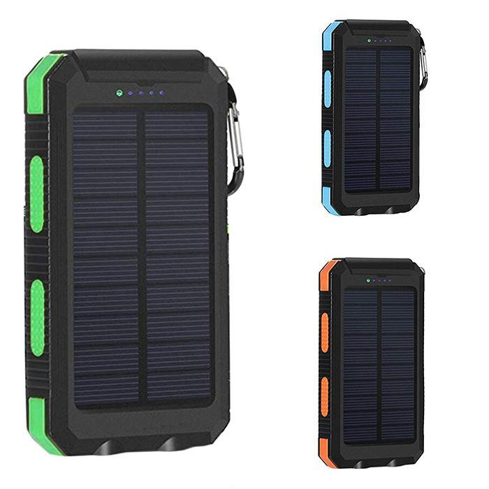 Outdoor Waterproof Solar Power Bank Dual USB Portable Poverbank With Compass Double LED Flashlight 6000mAh External Battery