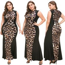 Women Plus Size Elegant Ladies Party Dress Leopard Print Patchwork Sleeveless Bodycon Maxi