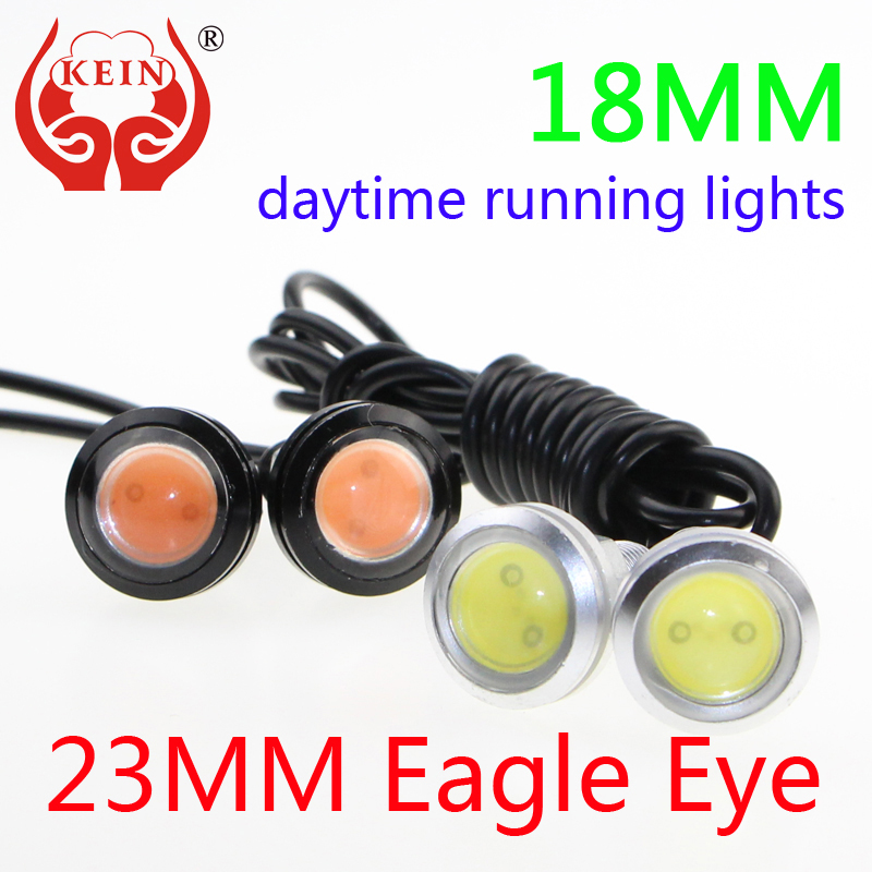 KEIN 2PCS 18mm23MM car LED Eagle Eye DRL daytime running light modified chassis license plate Parking lamp car styling white red