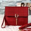 2016 fashion casual pu leather fringed plaid letter envelope clutch bag women's handbags shoulder bag messenger bag 6 colors