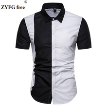 Hot sale men's shirt contrast color casual color stitching short-sleeved shirts breathable home men's tops