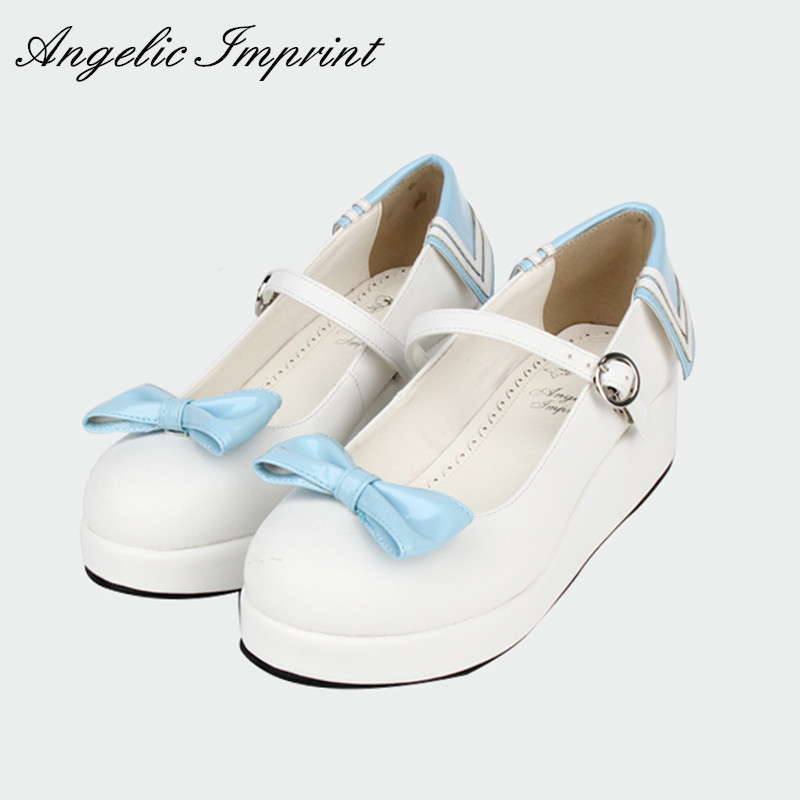 Japanese Navy Blue and White Sailor Lolita Platform Shoes Red Bow PU Leather Round Toe Mary Jane Shoes