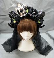 Restyle Large Black Evil Maleficent Horns Roses Gothic Hair Headpiece Crown Headband Lolita Veil Sheep Horn Hair Accessories
