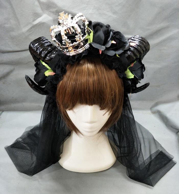 Coroa de Cabelo Acessórios para o Cabelo Reestilo Grande Preto Maleficent Chifres Rosas Gótico Headpiece Véu Lolita Chifre Ovelhas