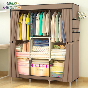 Image 2 - Simple Wardrobe Non woven Steel pipe frame reinforcement Standing Storage Organizer Detachable Clothing Closet Bedroom furniture