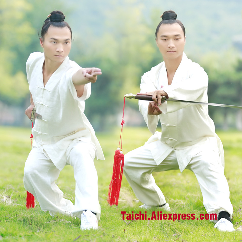 Male & Female Handmade  Linen Tai Chi Uniform Wushu  Kung Fu martial art Shaolin Training Suit  Chinese Stly  Jacket+Pants new pure linen retro men s wing chun kung fu long robe long trench ip man robes windbreaker traditional chinese dust coat