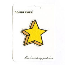 цены 3D Yellow Stars Supermarket Gift Card Specification Patch Embroidered Iron On Patches Cloth Coat Bag Shoes DIY Accessories