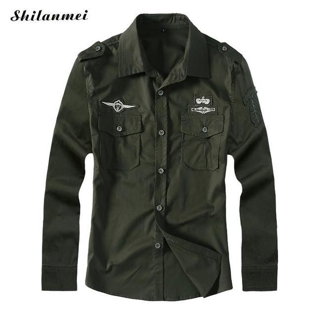 Masculina otoño Camisa de Manga Larga Verde Del Ejército