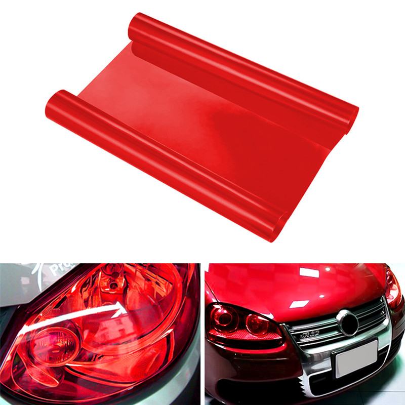 Red  Auto Car Accessories Car Headlight Stickers Colorful Protector Sticker Vinyl Film Sheet Sticker Fog Light Sticker