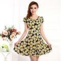 20 Styles Plus size L-4XL Vintage Floral Female Short Dress 2016 Summer Women Soft Silk Skater Everyday Dress vestidos femininos