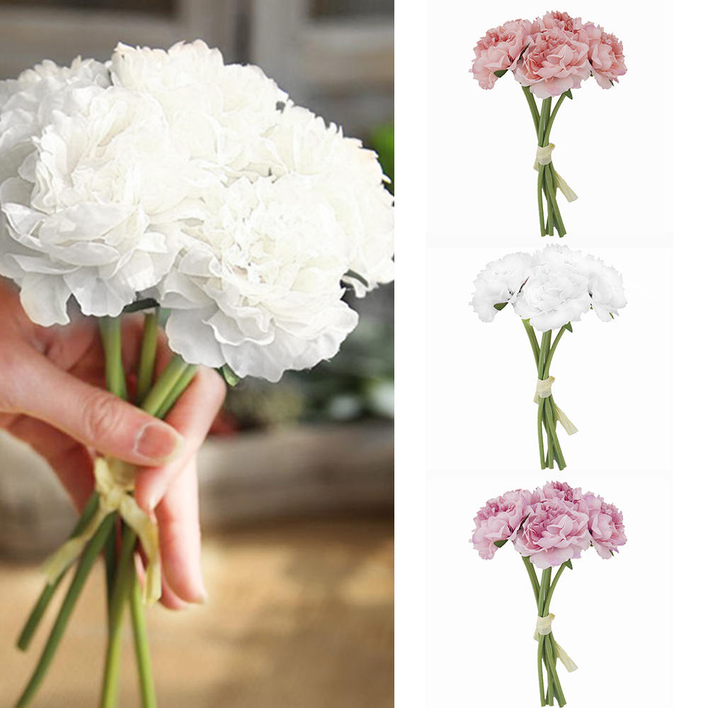 Silk Peony Wedding Bouquet For Bridesmaids Bridal Bouquets White Pink Artificial Flowers Mariage Supplies Home Decoration