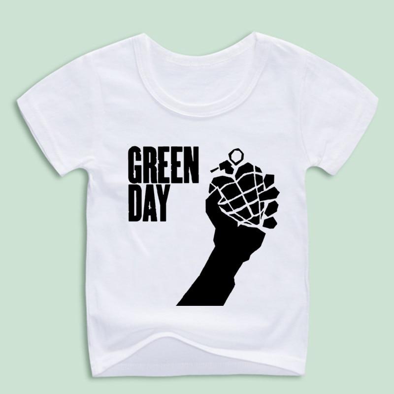 Childrens Green day Punk Rock Group Graphic T-shirt Boy and Girl Short sleeve O-Neck Geek Tshirt Hip Hop Homme T shirt