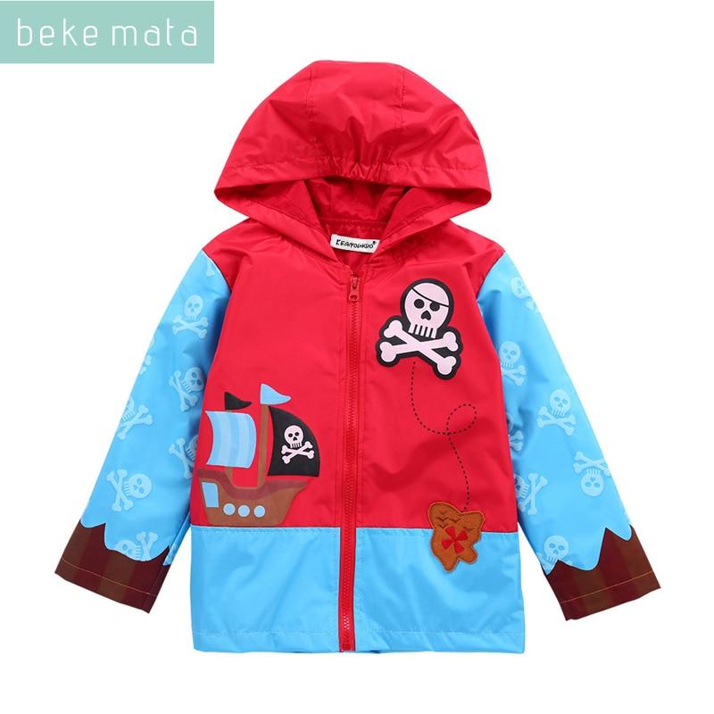 BEKE MATA Spring Windbreaker For Boy 2018 Cartoon Corsair Hooded Zipper Todder Boy Jacket Kids Raincoat Childrens Jacket Coat