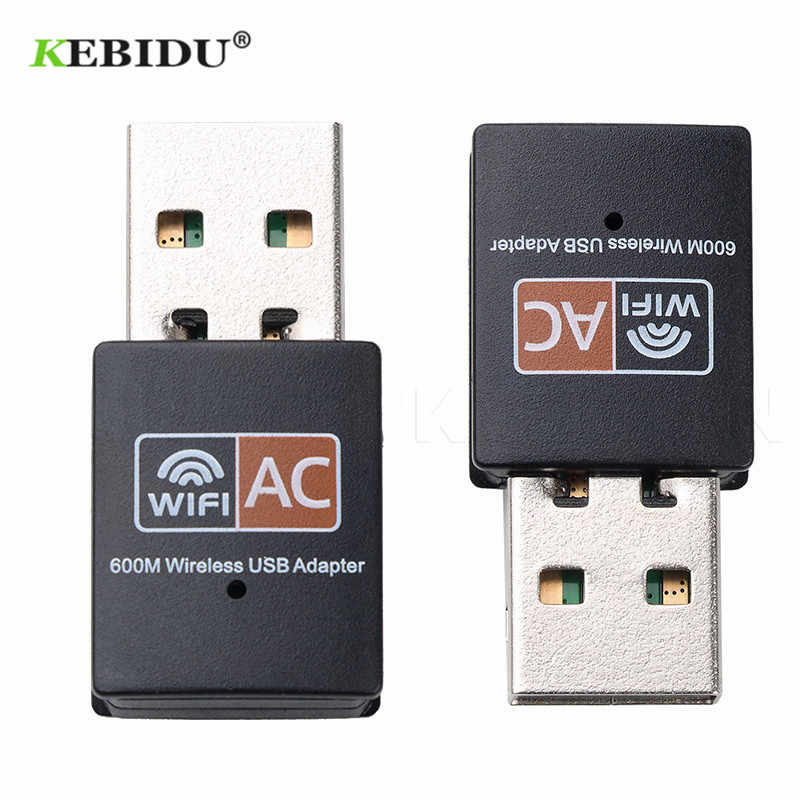 KEBIDU USB 600 Mbps adaptador WiFi inalámbrico tarjeta de red Ethernet de AC de doble banda 2,4G/5.G Wifi USB Dongle receptor wifi 802.11ac
