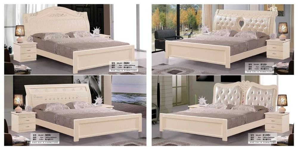 цена на solid wood bed Fashion Carved leather french bedroom furniture king size HC00115