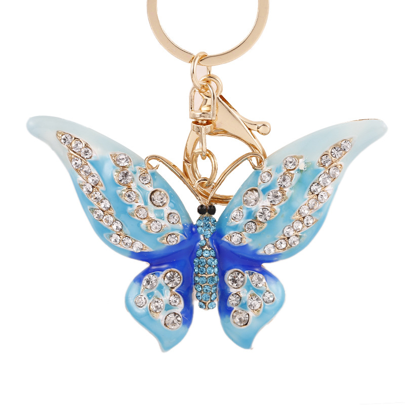Apparel Sewing & Fabric 2pcs/lot Coloured Drill Butterfly Keychain Pendant Lobster Clasp Buckle Diy For Home Use Component Key Button Pendant Ornament