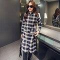 Women Plaid Shirts Long Sleeve 2017 Autumn Korean Turn-down Collar Blouses Long Loose Tops Ladies Blusas Hot Sale New Fashion