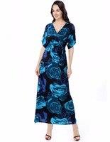 Women Plus Size Dress Summer Fashion New Rose Print Deep V Neck Maxi Dress Casual Short Sleeve Empire Ankle Length Dresses 6XL