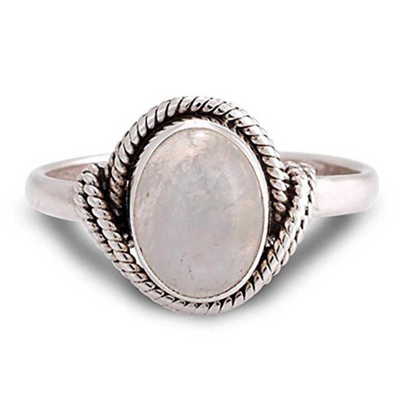 Anillo de compromiso Retro de moda europea para mujer, piedra lunar rosa, anillo de boda redondo Vintage, regalo de joyería